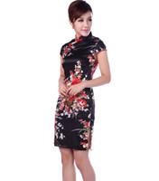 ingrosso abiti cinesi di colore nero-Abiti da sera corti cinesi in seta mini Cheongsam Qipao nero 3 colori