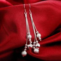 aretes largos con cuentas al por mayor-Nuevo 925 pendientes de plata chapado en aretes largos con cuentas para mujeres