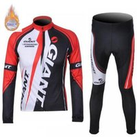 Wholesale giant long sleeve fleece cycling jersey for sale - Group buy Maillot Ciclismo GIANT team Men Cycling Jersey suit winter thermal Fleece long sleeve set Ropa ciclismo hombre road mtb Bike sports Clothing