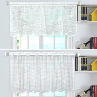 casa cortina blanca al por mayor-Cortos visillo cortinas blancas Valance para la sala gota de agua Cortinas de rejilla de Rod bolsillo de malla de ventana escarpada cortinas Decoración