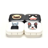 Wholesale mirrors for sale resale online - Hot Sale Cartoon Cute Cat Portable With Mirror Contact Lens Case For Lovers Gift Contact Lenses