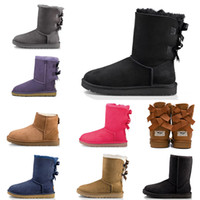 Wholesale button suede boots resale online - Women Luxury Designer Winter Snow Boots Australia Classic Short bow boots Black Grey Ankle Knee Fashion Brand Girl MINI Bowtie Bailey Boot