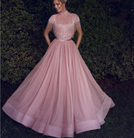 ingrosso donne abiti corti rosa-Blush Pink nappa dei vestiti da sera di cristallo di pizzo manica corta donne Abiye Dubai caftano Medio Oriente musulmano Prom abiti del partito 2020 Modest