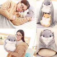Wholesale coral cute for sale - Group buy Warm Home Decoration Bedding Coral Wool Blanket Office Travel Cushion Blankets Birthday Gifts Cute Hamster Hold Pillow Blanket