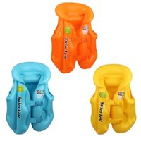 Wholesale age suit resale online - Kids Safety Swimming Life Jacket Vest Baby Swimwear Suit PVC Inflatable Pool Float Swimming Drifting Safety Vest Aid For Age