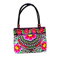 canvas embroidery оптовых-Fashion Flower Print Handbags Women Embroidery Handbag Ethnic Canvas Tote Wood  Double Layered Travel Shoulder Bag