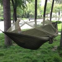 cama do exército venda por atacado-1-2 Pessoa Ao Ar Livre Mosquiteiro Parachute Hammock Camping Pendurado Cama Dormir Balanço Portátil Duplo Cadeira Hamac Exército Verde