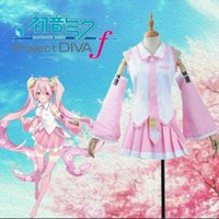Wholesale cherry costume resale online - Vocaloid Sakura Miku Pink Cosplay Costume with Cherry Headwear Gift Free Custom