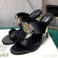 Wholesale stiletto shoes s resale online - New Women s High heeled Sandals Luxury Designer Shoes Diamond Buckle Women s Slippers Fashion Casual Stiletto Sandals Mercerized S