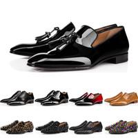 ingrosso appartamenti di oxford-Christian Loubutin 2019 designer mens bottoms rossi scarpe piatte in vera pelle Oxford scarpe Business mens da donna Walking Wedding Party taglia 38-47 con scatola