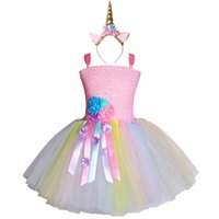ingrosso vestito fantasia della ragazza di compleanno-Ragazze pastello fiore Unicorno Tutu Dress Sweet Girl Birthday Party Dress Bambini Bambini Tulle Princess Dress Fancy Unicorn Costume J190506