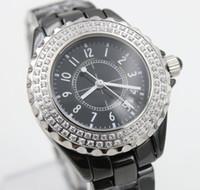 Wholesale clock cases resale online - 2019 hot Sale Quartz Watch Women Diamond Case Black Dial Ceamic Band Female Clock Montre Homme
