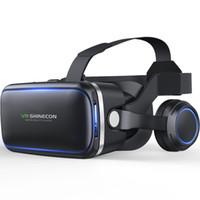 realidad virtual google 3d plastico carton al por mayor-NUEVO Casco VR Casco VR Gafas de realidad virtual 3 D Gafas 3D con Auriculares para iPhone Android Teléfono inteligente Teléfono inteligente Estéreo