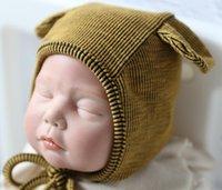 örme şapka ayı toptan satış-Bebek Şapka Örme Kap Şapka Sıcak Ayı Yuvarlak Makine Kapağı Kulak Kaput Korur Bebek Sevimli Kış Kapaklar