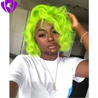 pelo virgen atado a mano al por mayor-Atado a mano, menta, color verde, pelucas sintéticas cortas, resistente al calor, cuerpo profundo, onda, pelo virginal brasileño, encaje delantero, pelucas para mujeres