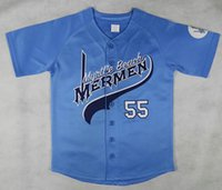 ingrosso baseball jersey 55-Mens all'ingrosso economici Myrtle Beach Mermen 55 Kenny Powers maglie da baseball Blu Kenny Powers cucito Camicie taglia S-XXXL