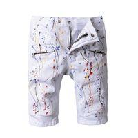 sanat hattı boyama toptan satış-Balmain Denim şort Tasarımcı Kot Beyaz Rahat Sokak Pantolon Motosiklet Kamuflaj Boya Kot Ilham Sanat Kanye West Pantolon
