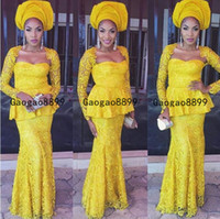 Wholesale one shoulder sexy lace evening gowns resale online - 2020 Aso Ebi yellow prom dresses Handmade d lace Appliques Evening Dress African Arabic ruched stain long sleeves Party Gown Vestidos