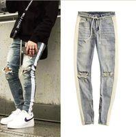 ingrosso jeans scarni di grandi dimensioni-Gingtto Skinny Jeans Uomo Strappato Jeans a strisce laterali nere Elasticizzato Slim Fit Biker da uomo di grandi dimensioni