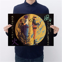 dekorative vintage aufkleber großhandel-Japanischen Anime Naruto Vintage Kraftpapier Poster Bar Cafe Dekorative Malerei Wandaufkleber 50,5X35 cm