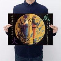 dekoratif vintage etiketler toptan satış-Japon Anime Naruto Vintage Kraft Kağıt Afiş Bar Cafe Dekoratif Boyama Duvar Sticker 50.5X35 cm
