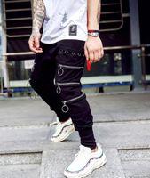 şalgam hip hop harem pantolon çocuklar toptan satış-Erkekler Boys Baggy Pantolon Fermuar Gelgit Hip Hop erkek Moda joggers harem pantolon Erkek Gevşek Çöküşü Pantolon streetwear Dipleri XXL