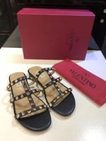 Wholesale flat espadrilles resale online - 2019 New Popular Women s Flat Rivet Valen Espadrilles Shoes Casual Sandals Leather Flat Slippers Flip Flop