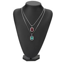 черная цепочка драгоценных камней оптовых-2019 новый хип-хоп замороженные лаборатории Рубин GEM ожерелье с 24 дюймов змея кости цепи красный синий зеленый черный прозрачный Рубин для мужчин женщин