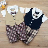 Wholesale baby boys party clothes resale online - Newborn Baby Formal Party Bodysuit Fashion Plaid short Sleeve Baby Boys Clothes New Outfits Summer Clothing Sets Outfit Gift