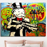 imagens de color animal venda por atacado-Saco do dinheiro Multi Cor Alec Monopólio Grafite Cópias Da Lona Imagem Pinturas Modulares para Sala de estar Cartaz na Parede Decoração de Casa
