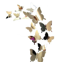 Wholesale butterfly window decor resale online - Mirror Pure Wall Stickers Decal Butterflies D Mirror Wall for Art Home Decors Living Room Window Decoration MMA1927