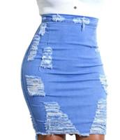 vintage moderne kleider großhandel-Mode Sommer Frauen Sexy Denim Kleid Röcke Hohe Taille Zerrissene Fransen Quasten Damen Mädchen Sexy Jean Röcke Hosen Für frauen Größe S-2Xl