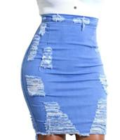 jeans effiloché pour les femmes achat en gros de-Mode été femmes Sexy Denim robe jupes taille haute déchiré glands frangés dames filles Sexy Jean jupes pantalons pour les femmes taille S-2Xl