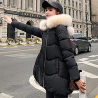 chaqueta de damas dulce al por mayor-2019 Cute Sweet Winter Jacket Women Solid Black Pink Female Parka larga Algodón acolchado con capucha Outwear Ladies Parka Mujer Invierno