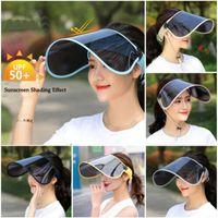 sombrero de plástico transparente al por mayor-Summer TAC Hat Sun Visor Party Casual Hat Clear Plastic Adult Sunscreen Cap Nuevo