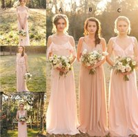Wholesale purple beach style wedding dresses online - Cheap Country Style Blush Chiffon Bridesmaid Dress Mixed Style Chiffon Boho Long Bridesmaid Dresses Beach Wedding Party Gowns BC1350