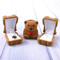 Wholesale blue bear jewelry for sale - Group buy DDisplay Velvet Bear Ring Brown Jewelry Box Cartoon Pink Earring Girls Jewelry Standing Holder Creative Blue Necklace Jewelry Case