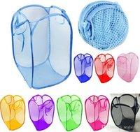 mesh-taschen zum waschen von kleidung großhandel-Faltbare Mesh Wäschekorb Organizer Vorratsbehälter Pop Up Waschen Kleidung Wäschekorb Bin Korb Aufbewahrungstasche 11 Farben HH7-1100