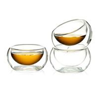 çift katmanlı cam kupa toptan satış-Su şişeleri 50 ML Zarif Şeffaf Cam Içme Bardağı Isıya Dayanıklı Çift Duvar Katmanlı Cam Bardak Açık Çiçek Çay Için toptan