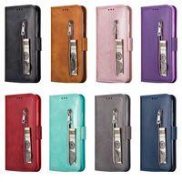 portefeuille id flip wallet achat en gros de-Etui portefeuille en cuir à glissière pour Samsung Note 10 Pro S10 S10 S10e 9 8 IPhone neuf 11 2019 XR XS MAX X 8 7 6 titulaire Money ID 3 fente pour carte Flip Cover