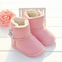 bottes en crochet nouveau-né achat en gros de-Date Bottes D'hiver Bébé Chaussures Nouveau-Né Garçons et Filles Chaud Neige Bottes Infant Toddler Prewalker Chaussures taille 11 cm-12 cm-13 cm