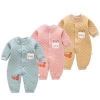 neugeborenes baby sleepwear winter groihandel-Neugeborene Babys kleidet Spielanzugfrühlingsherbstkleinkindbaumwolllangarmoverallanzüge für weiche Kleidung der Babyjungen weiche Kleidung Sleepwear