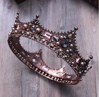 vintage tören tiaraları toptan satış-Düğün Yarışması Parti Balo Vintage İçin Barok Kristal Prenses Tam Yuvarlak Taç Gelin Saç Takı Çember Kral Ve Kraliçesi İnci Tiara