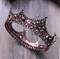 coronas del desfile de la vendimia al por mayor-Princesa de cristal barroco Corona redonda completa Joyas para el cabello nupcial Círculo Rey y reina Tiara de perlas para el desfile de la boda Fiesta de graduación Vintage
