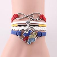 pulseiras de autismo venda por atacado-Atacado-Infinito Amor Hope Autism Awareness Bracelet Rhinestone Puzzle Piece Charme pulseiras pulseiras pulseiras para mulheres homens jóias