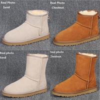 zapatos de invierno de punto al por mayor-HOT WGG botas de nieve de invierno Australia Classic botas altas de buena moda de cuero real Bailey Bowknot botas de bailey bow Knee Boots para mujer zapatos para hombre