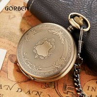 Wholesale mens fob chain resale online - Luxury Golden Nurse fob Watches Chain for men Stainless steel Japan Quartz Movt Pocket Watch Engraved Mens Gift Relogio De Bolso