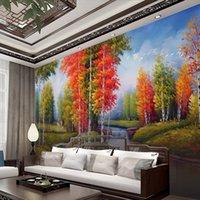 toile à peindre achat en gros de-Pays 3d peinture à l'huile paysage paysage peinture arbre décoration peinture papier peint sans soudure mur tissu grande murale salon canapé backgrou