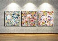 nackte leinwanddrucke großhandel-Takashi Murakami, 3 Stücke Leinwanddrucke Wandkunst Ölgemälde Wohnkultur (Ungerahmt / gerahmt) 12X24x3.