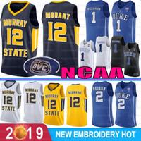 camisetas de baloncesto azul al por mayor-NCAA 1 Sion Williamson Duke Blue Devils jerseys del baloncesto 12 Ja Morant Murray State College 5 RJ Barrett 2 Reddi 4 J. J Redick 32 Laettner